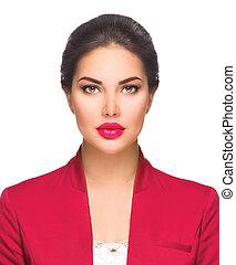 headshot, portret, od, młody, piękna kobieta, odizolowany, na, white., handlowa kobieta