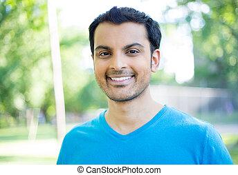 Headshot smile - Closeup headshot portrait, happy handsome...