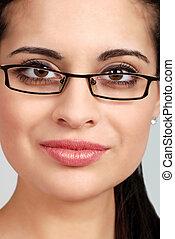 headshot spanish woman glasses - headshot spanish woman...