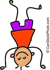 little boy standing on his head