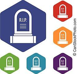 headstone, アイコン, セット