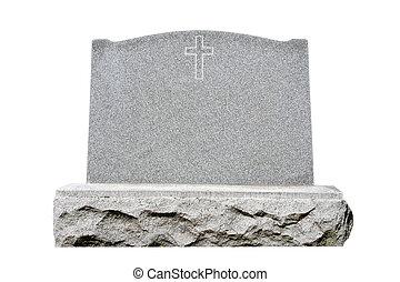Headstone - Blank granite headstone set against white...