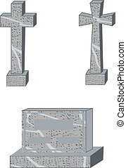 Latin and maltese cross grave markers and large family style gravestone