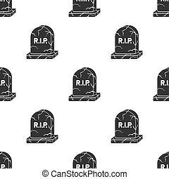 Headstone icon in black style isolated on white background. Black and white magic pattern stock vector illustration.
