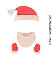 headwear, claus, santa, hat., écharpe, mitaines, rouges