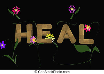 Heal - Multiple generic bandages with fun flowers on black.