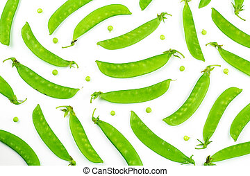 Heal of snow peas or mange-tout, isolated on white background