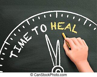 heal, tempo, escrito, mão