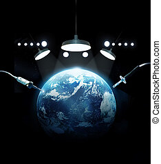 Heal The World, earth in emergency room with tool medical, environment symbol concept, Elements of this image are furnished by NASA