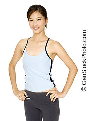 Healhty Girl - A smiling healthy young asian woman in sports...