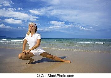 healhty, manhã, estilo vida, exercises.