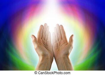 Healing Circle of Light - Healer's hands palm up, against a ...