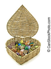Healing crystals - Love heart shaped wicker basket filled...