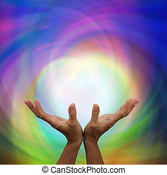 Outstretched healing with angelic energy color background
