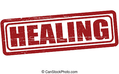 Healing - Stamp with word healing inside, vector...