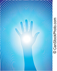 Healing hand with reiki lines - Vectorial illustration of a...