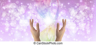 Healing Hands on a sparkling pastel coloured background