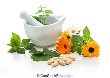 Alternative medicine - Healing herbs and a mortar. ...
