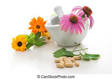 Alternative medicine - Healing herbs and a mortar. ...