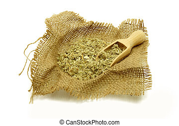healing herbs with scoop for the winter flue