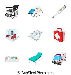 Healing icons set, cartoon style - Healing icons set....