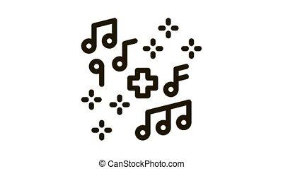 healing music Icon Animation. black healing music animated icon on white background
