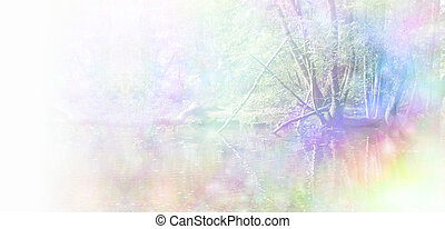 Healing Nature Website Header - Trees at the edge of water, ...