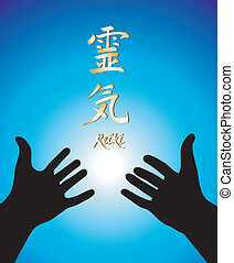 Healing reiki hands - Vector illustration of two hands and ...
