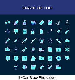 healt icon set flat style design set