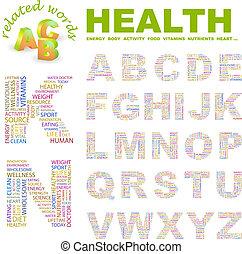 HEALTH. ABC. Word cloud concept illustration. Print concept ...