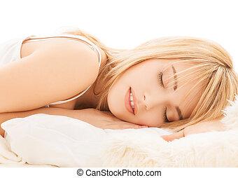 teenage girl sleeping at home