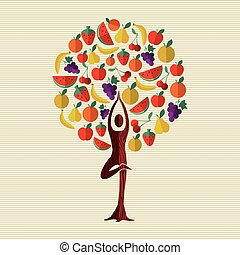 Health and fitness concept tree with fruit food