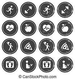 Health and fitness icons retro labe - Vintage dark badges-...