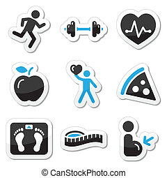 Health and fitness icons set - Black and blue glossy labels....