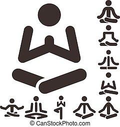 yoga icons set - Health and Fitness icons set - yoga icons...