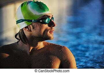swimmer - health and fitness lifestyle concept with young ...