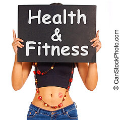 Health And Fitness Sign Shows Exercise For Getting Healthy...