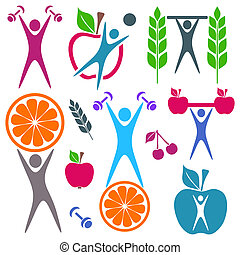 Health and food icons - Colorful healthy food and fitness...
