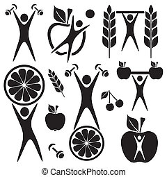 Healthy food and fitness symbols and exercising figures