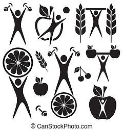 Health and food symbols - Healthy food and fitness symbols ...