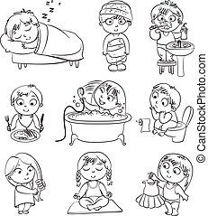 Health and hygiene. Baby girl after the shower in a bathrobe and towel, taking a bath, brushing her hair, tries on a new dress. Funny little boy brushing teeth, sitting on toilet, sleeping, breakfast