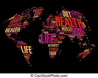 Health and Life World Map in Typography, sport, health,...