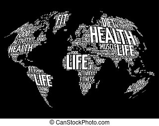 Health and life world map in typography sport health vectors health and life world map in typography gumiabroncs Choice Image