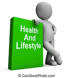 Health And Lifestyle Book With Character Shows Healthy...
