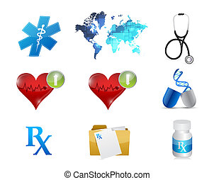 health and medical concept icon set illustration
