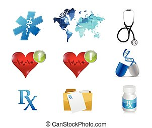 health and medical concept icon set