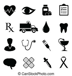 Health and medical icon set in black