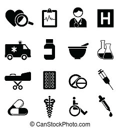 Health and medical icons - Health and medical icon set