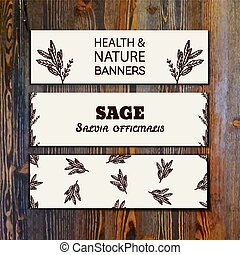 Health and Nature Collection. Collection of banners with ...