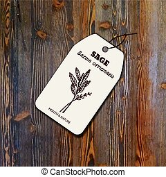 Health and Nature Collection. Tag template with a herb on ...